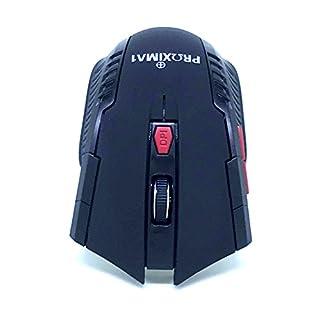 proxima1Kabellose Maus ei7Tasten 2.4G optische USB schnurlose Gaming & OFFICE Laptop PC Ergonomische Maus Mäuse mit Nano recver, 5DPI Ebenen verstellbar, LED blau, Dual Energiesparend Modi für Windows 7/8/10/XP Vista–Schwarz