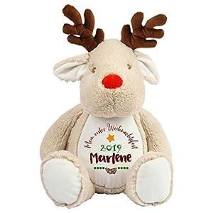 Babys erstes Weihnachten Rentier Kuscheltier / Babys first christmas mit Namen