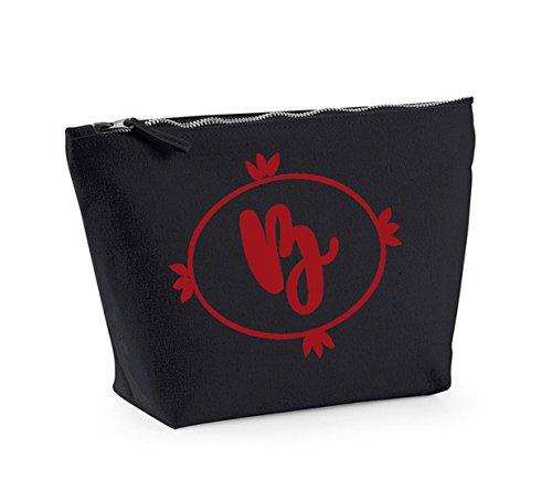 Personalised Initial - Custom - Fun Slogan, Make Up and Cosmetics Bag, Accessory Organiser Black/Red