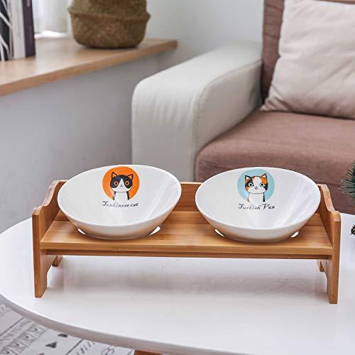 Cnrng Hundeschüssel Rutschfeste Haustier Hundekatze erhöhte Feeder Bowl mit Doppelschalen -