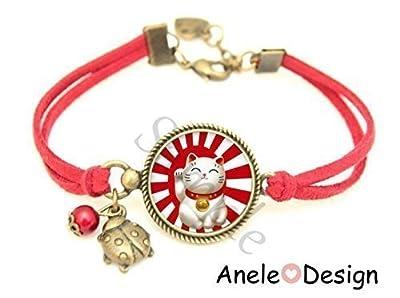 Bracelet Chat Porte Bonheur japonais Maneki Neko, bracelet chance, porte bonheur