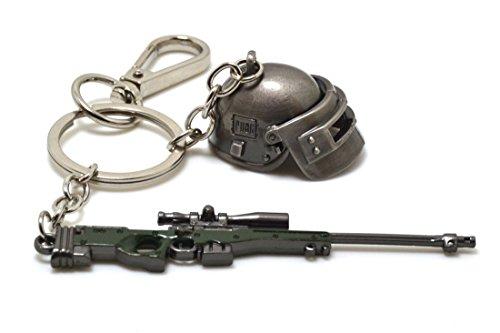 ARUNDEL SERVICES EU Juego Playerunknown Llavero de los Campos de Batalla Pistola y Casco PUBG Disfraces de Juego Fuerzas Especiales Llavero de Arma Llavero PUBG