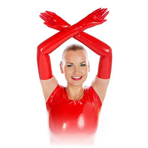 Rubberfashion sehr lange Latex Handschuhe extra dick Latexhandschuhe bis zum Oberarm mit veredelter Oberfläche für Frauen und Herren Menge: 1 Paar rot M (Rote Lange Fingerlose Handschuhe)