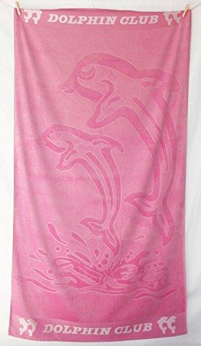 XXL Partner Strandtuch Strandlaken Velours 100% Baumwolle 100x180 Dolphin Club (pink)