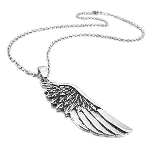 MunkiMix Edelstahl Anhänger Halskette Silber Ton Feder Engel Flügel Engelsflügel Herren,mit 58cm Kette