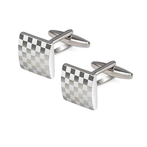 Sorella'z Mens Alloy Metal Silver Tone Chessboard Cufflinks