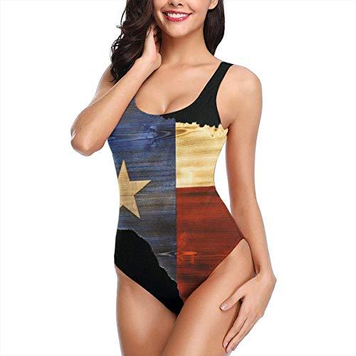 Hipiyoled Einteiliger Bikini-Badeanzug für Damen Texas Map Flag Swim Halter Bathing Suit Tummy Control Beach Swimwear