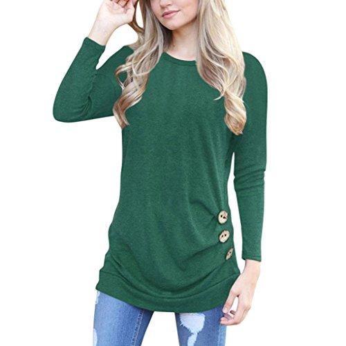OverDose Frauen Solide Shirt Langarm Botton Falten Bluse Lässig O Neck Casual Tops Plus Größe(S,A-Grün) Plus Größe Weiße Jacke