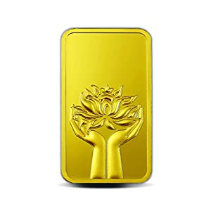 MMTC-PAMP 24k (999.9) Lotus 10 gm Yellow Gold Bar