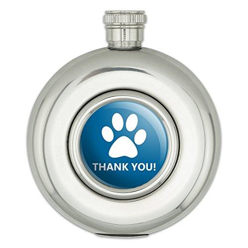 Runde Edelstahl Flachmann Thank You Gratitude Dog Paw Print Blue Birthday Baby Boy (Blue Paw Print)