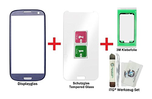 iTG® PREMIUM Juego de reparación de cristal de pantalla para Samsung Galaxy S3 Azul   Panel táctil frontal oleofóbico para i9300 i9301 i9305 NEO LTE + Protector en vidrio templado, 3M Adhesivo precortado y iTG® Juego de herramientas