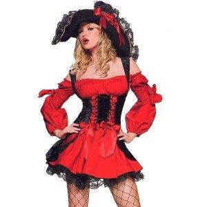 Leg Avenue Sexy Piraten-Kostüm mit Samt Korsett - Kostüm Piraten Korsett