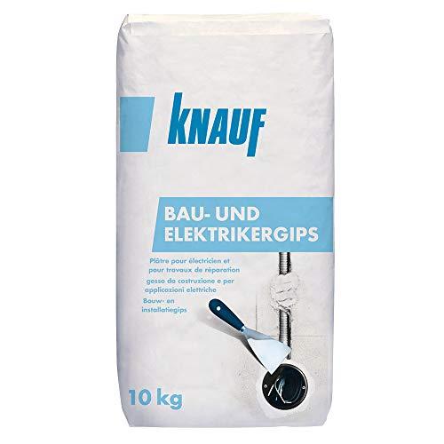 Knauf Bau-Gips / Elektriker-Gips, 10-kg - schnellhärtender, hochfester Montage-Gips zum Setzen und Fixieren von Elektro-Installationen, stoß- und druckfest, gemäß DIN EN 132793
