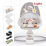 Multifunktions-Baby-Prahler-Stuhl elektrischer Baby-Schaukelstuhl-Komfort weicher Baby-Schaukelstuhl für Neugeborenes, Kleinkind, scherzt Mädchenjungen von 0-12 Monaten Baby-Rocker,Gray