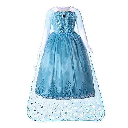 Nndoll princess vestito abito maniche lunghe bambina costume bimbi lusso elsa 218 (150/7-8 anni)
