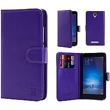 32nd® Funda Flip Carcasa de Piel Tipo Billetera para Xiaomi Redmi Note 2 con Tapa y Cierre Magnético y Tarjetero - Morado