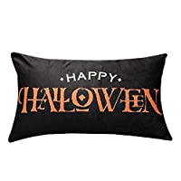 Sofa for Cushion, iHee Linen Pillowcase Throw Pillow Case Halloween Pumpkin Witch Cushions Cover Square 18x18 Inches Home Decor (18 x 18 Inches, Letter_Happy Halloween)