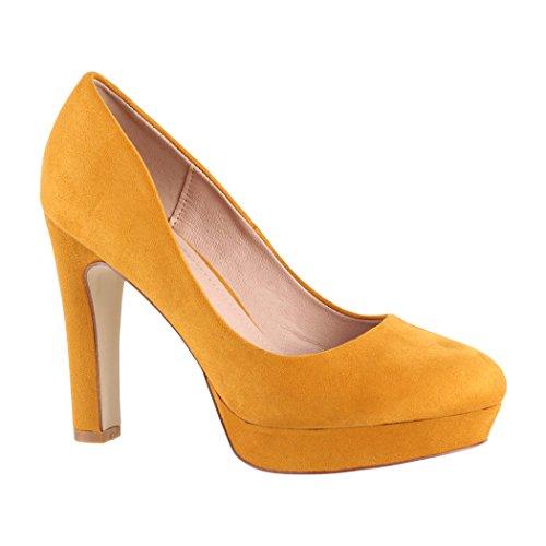 Elara - Tacón Alto Cerrado para Mujer, Color Amarillo, Talla 39