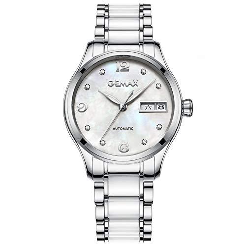 Lnyy Damenuhren Keramikuhren Wasserdichte hochwertige automatische mechanische Uhr Swiss Diamonds leuchtende Damenuh