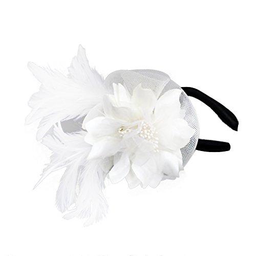 Hochzeit Damen Feder Fascinator Haarreif Blume Schleier Hut Kopfband Haar-Accessoires - Beige