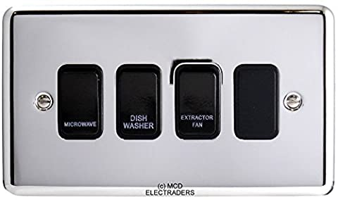 Polished Chrome Customised Kitchen Grid Switch Panel with Black Switches - 4 gang