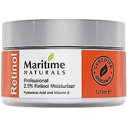 Inmensa 120 ml Crema Hidratante con Retinol + Ácido Hialurónico + Vitamina E - Retinol de grado profesional - Manteca de Karité - Vegana - Cuidado Natural de la piel por Maritime Naturals