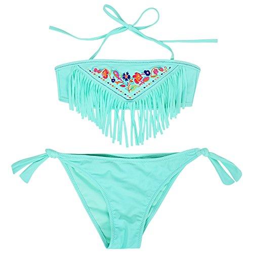 Perfashion Mädchen Badeanzug Stickerei Bikini Set Tassel Halter Top und Solid Color Dreieck Bottom Bademode (Schwimmen Unten Rock)