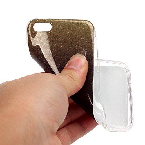 Beiuns pour Apple iPhone 5C (4 pouces) Coque en Silicone TPU Housse Coque - N226 argent N220 café