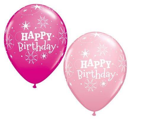 Luftballon Happy Birthday Glitzer Rosa & Wildbeere Qualatex 28cm Latex 5 Stück (Polka Dot Ballons Pink)