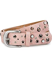 52284ba7941d36 styleBREAKER Damen Gürtel mit Perlen, Strass und Nieten, Vintage  Nietengürtel, kürzbar 03010090