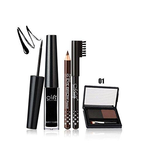 Make-up-marker Liquid (Xshuai Dauerhafte Makeup Menow Wasserdichte Liquid Eyeliner Augenbraue Bleistift 2 Farbe Augenbraue Pulver Set (A))