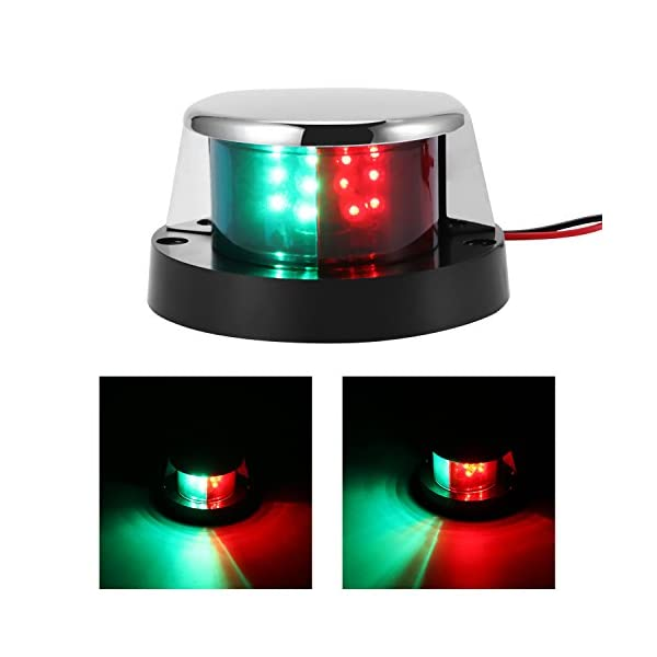 ALLOMN Boat Navigation Light 12V LED Navigation Lamp Red and Green Marine Light for Boat Yacht Stainless Steel Bow… 2