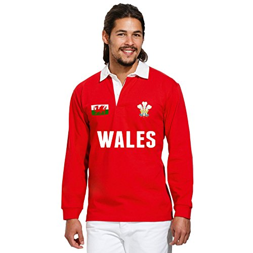 Wales Vintage Polo Shirt Welsh Rugby Rot - Rot