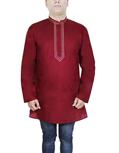 RoyaltyLane Men's Cotton Short Kurta 007 Maroon XL  available at amazon for Rs.425