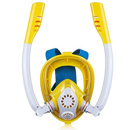 NinJaSun Le Masque de plongée Anti-buée pour Enfants de Sports de Plein air, Un Masque de plongée en Silicone entièrement Sec, Peut être équipé de GOPRO,whiteyellow