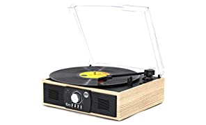 Vinyl Record Player, VMO Turntable with 3-Speed Bluetooth 5.0 Built-in Stereo Speakers, Belt Driven Vintage Style Vinyl Record Player, Supports USB Encoding/AUX IN/RCA Output (Light Wood)