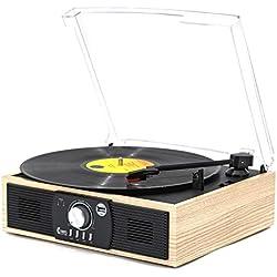 Platine Vinyle,VINYL MUSIC ON Tourne-Disque Bluetooth 33/45/78 TR / Min avec Haut-Parleurs IntéGréS, Encodage du Vinyle Encodage USB , Sortie RCA , 3.5Mm Aux in, Interrupteur ArrêTez Automatique