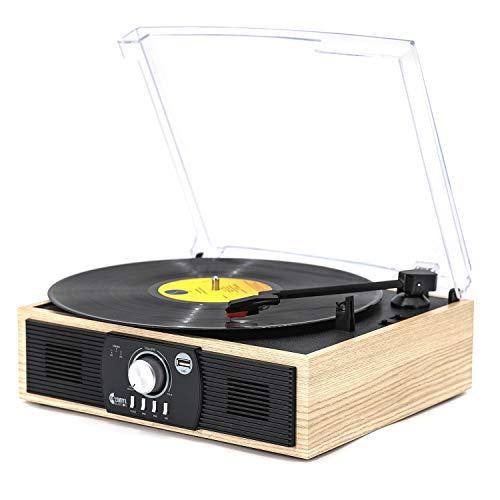 Platine Vinyle,Vmo Tourne-Disque Bluetooth 33/45/78 TR / Min avec Haut-Parleurs IntéGréS, Encodage du Vinyle Encodage USB , Sortie RCA , 3.5Mm Aux in, Interrupteur ArrêTez Automatique