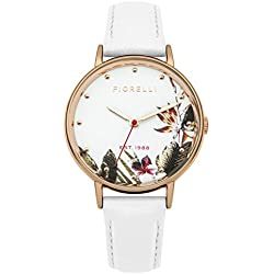 Fiorelli Women's Quartz Watch with White Dial Analogue Display and White Leather Strap FO022WRG