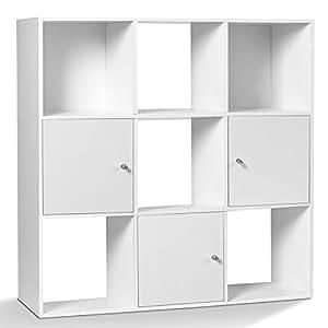 IDMarket - Meuble de rangement cube 9 cases bois blanc avec 3 portes