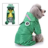 smalllee_lucky_store Cute Cartoon Raincoat for Small Dogs with Hoood Leash D-ring Puppy Botton Down Rain Jacket Full Boby 4 leg Jumpsuit Lightweight Waterproof Clothes