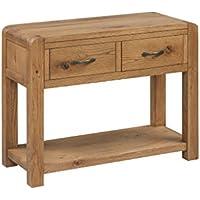 Caprice de roble macizo mesa de salón–Roble macizo mesa consola con 2cajones–gran mesa de pasillo con balda–acabado: roble rústico–pasillo–Comedor–muebles de salón