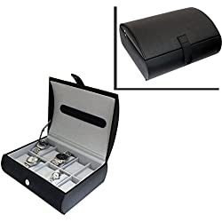 Gents Genuine Black Bonded Leather 10 Watch Storage Case Organiser Box