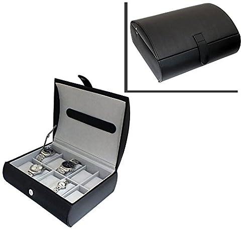Gents Genuine Black Bonded Leather 10 Watch Storage Case Organiser Box