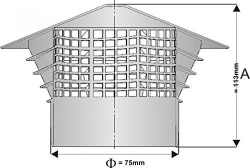 Aération–Accessoire Chapeau–Purgeur de toit DN 75–75mm, montage: Dans le tuyau