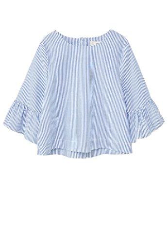mango-kids-gestreiftes-hemden-baumwollhemd-size9-10-jahre-colorblau