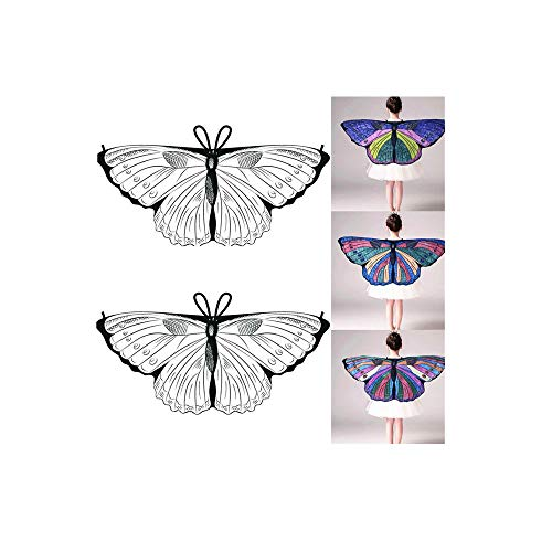 Kleiner Kostüm Engel Flügel - ODJOY-FAN Kind DIY klein Schmetterlings Schal Schals, Kinder Mädchen DIY Schmetterlingsflügel Kap Flügel Kreativ Engel Flügel Ankleiden Kostüm (Weiß-D,1 PC)