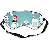 Preisvergleich für Natural Silk Eyes Mask Sleep Merry Christmas Santa Claus Blindfold Eyeshade with Adjustable for Travel,Nap,Meditation...