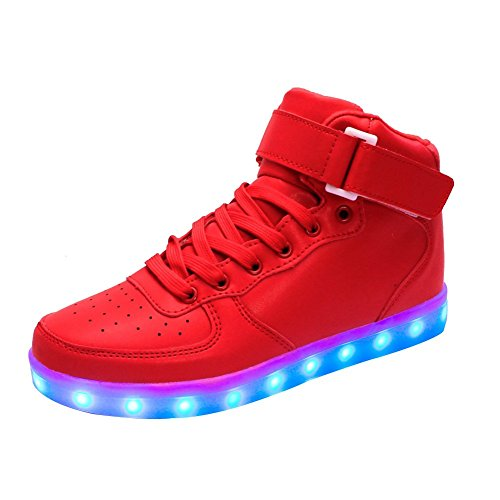 Moollyfox Sneaker Unisexe High Top 7 Couleurs Chargement Usb Led Light Chaussures De Sport Rouge