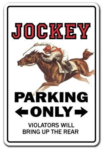 Sign Parking Horse Racing Derby Rider Gift Racetrack Silks Rider Racer Novelty Metal Sign Aluminum 8x12 INCH ()